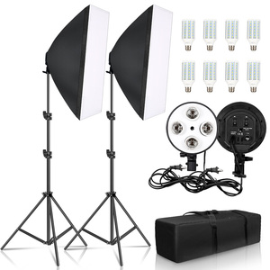 Image 1 - Photography 50x70CM Four Lamp Softbox Kit Continuous Lighting System Soft Box Accessories Photo Studio Equipment