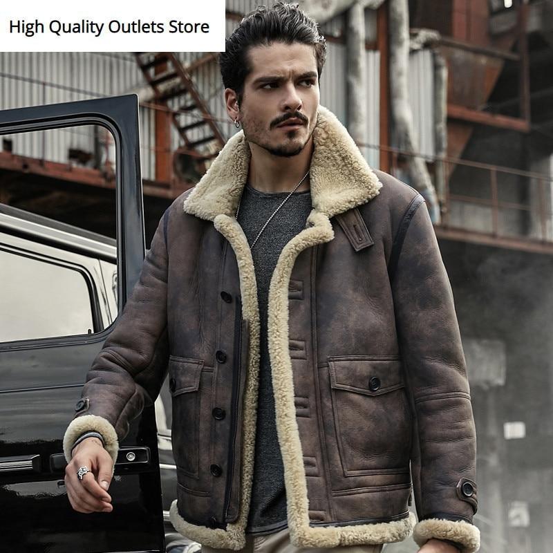 Men Genuine Leather Jacket Sheepskin Coat Real Leather Jackets Winter Outerwear Short Design Man Fur Coat Short Design Shearling