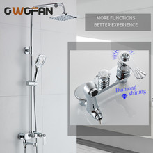 Modern Chrome Bathroom Rainfall Shower Faucet Set Diamond Decorative Mixer Taps With Hand Head Black R45-504
