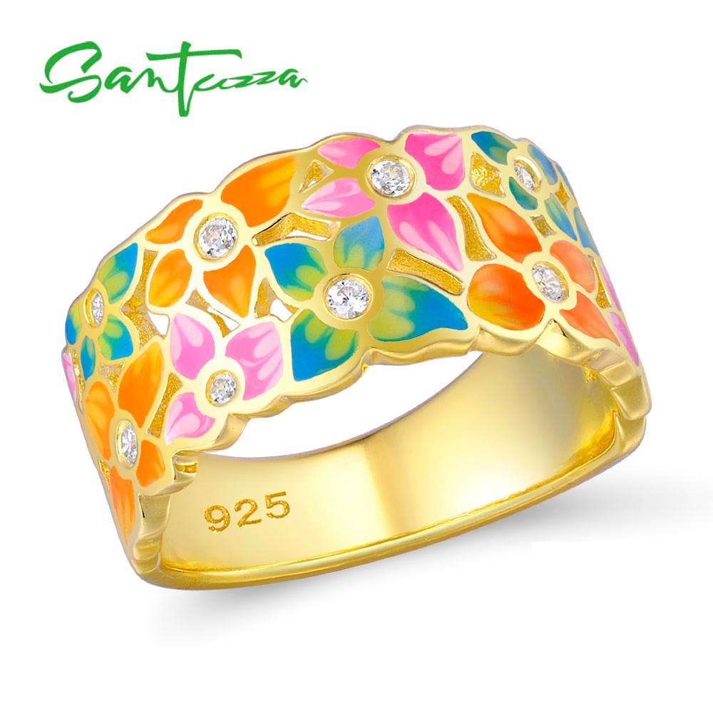 SANTUZZA Cincin Perak Untuk Wanita 925 Sterling Silver Mode Cincin Bunga Warna Emas Cubic Zirconia Ringen Partai Perhiasan Enamel
