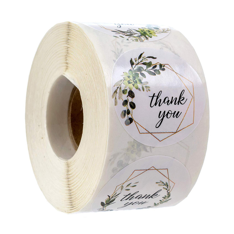 500 Labels Roll Flower Thank You Stickers Scrapbooking For Gift Decoration Stationery Sticker Seal Label Handmade Custom Sticker