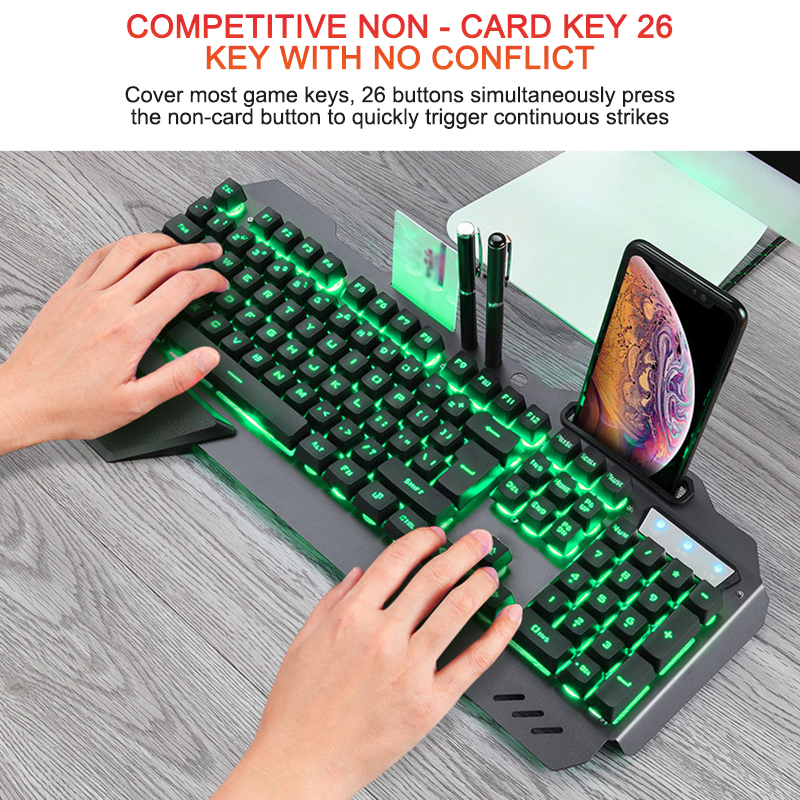 Mechanical Gaming Keyboard With RGB Backlight Phone Holder Wired Ergonomic Keyboard Gamer Keyboard For Tablet Desktop For PUBG image