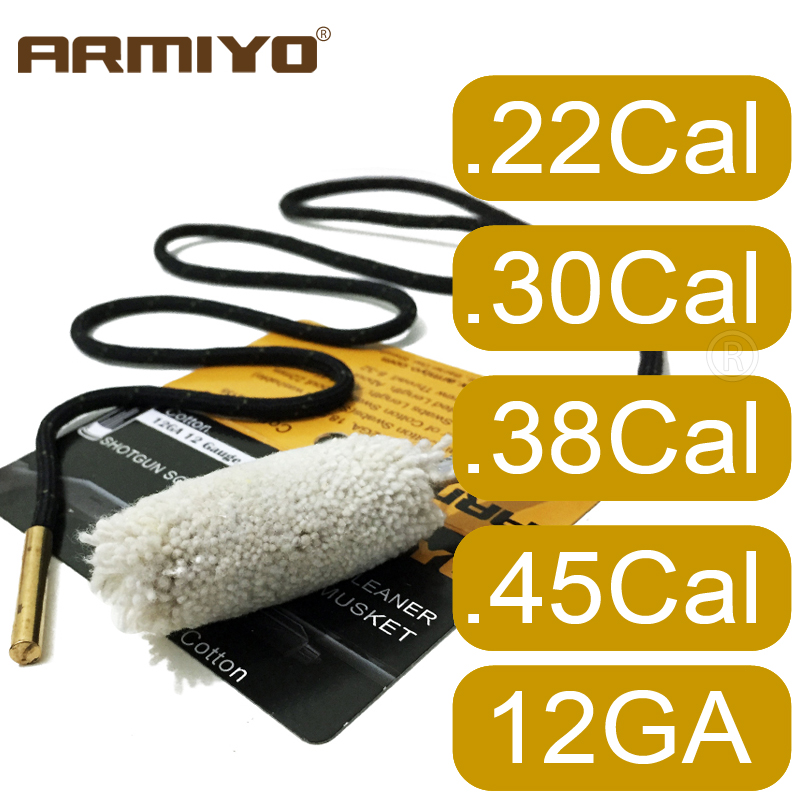 Armiyo .22Cal .30Cal 12GA .38Cal Pistol Rifle Shotguns Barrel Swabs Cotton Cleaning Kit Gun Brush (Choose Caliber) Thread 8-32
