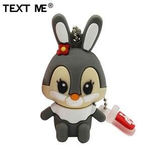 Image 2 - TEXT ME 64GB usb flash drive usb 2.0 4GB 8GB 16GB 32GB  pendrive cute gray pink model rabbit cartoon usb