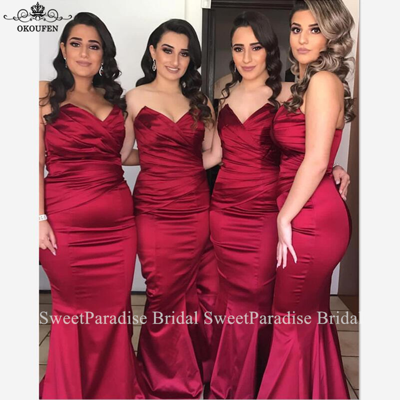 Pleat Mermaid Bridesmaid Dresses Wholesale Long Sweetheart Neck Burgundy Maid Of Honor Wedding Guest Dress Vestido Madrinha