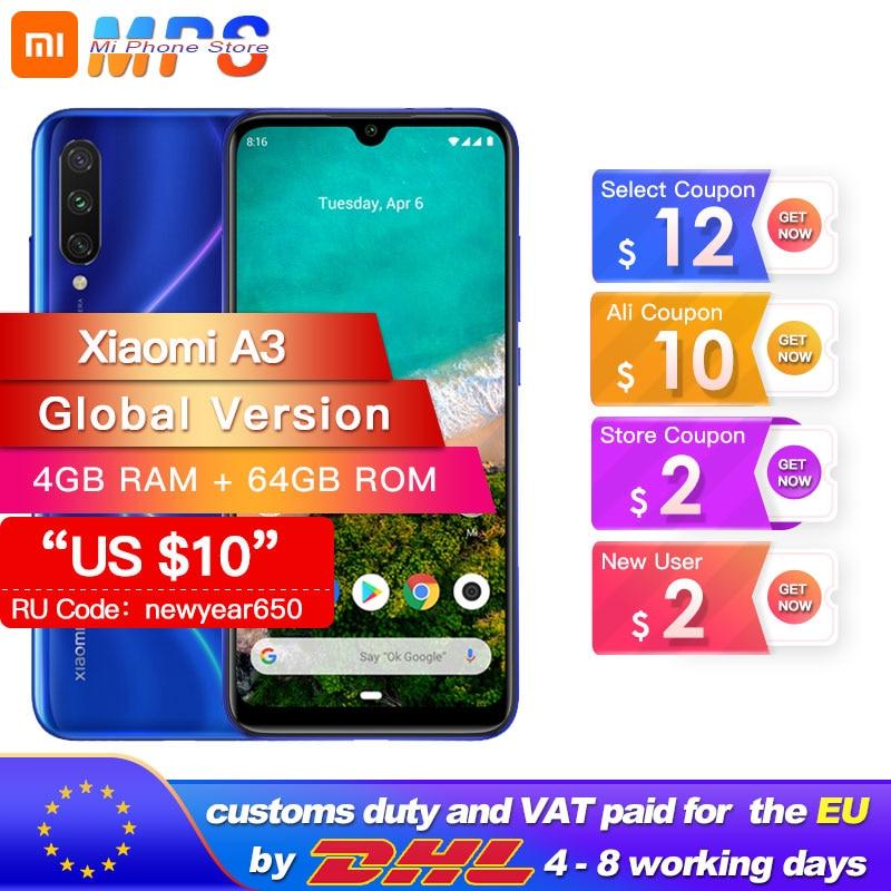 """In Stock Global Version Xiaomi Mi A3 MiA3 4GB 64GB Smartphone Snapdragon 665 Octa Core 6.088"""" Screen 48MP + 32MP Camera 4030mAh"""