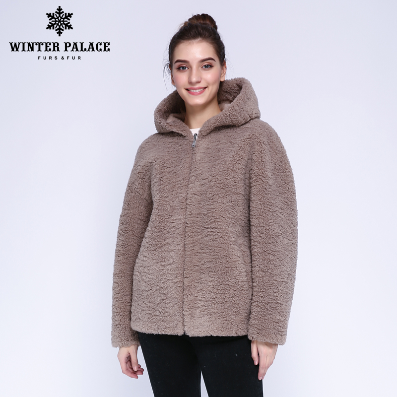 WINTER PALACE 2019 Women's Fashion Wool Coat Fur Jacket Short Zip Hooded Fur Coat Granular Wool Contains 30% Winter Warm Jacket