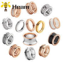Heam original high quality 925 sterling silver Bulgaria couple ring for women ceramic spring shape fashion jewelry wedding gift(China)