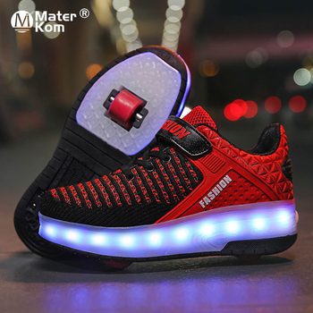 Size 28-40 Roller Sneakers for Kids Boys LED Light Up Shoes with Double Wheels USB Charging Skate Shoes for Children Boys Girls