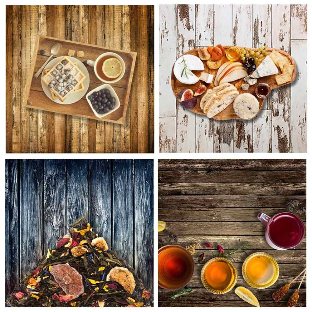 60X60cm Wooden Board Background Retro Planks Texture Cake Food Photography Background Durable Cloth Backdrop For Photo Studio