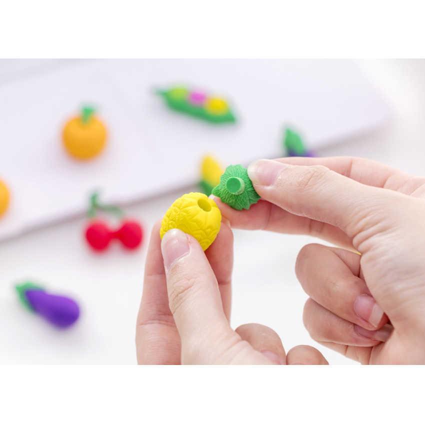6 pçs/lote borracha de frutas e vegetais borrachas adorável listra lápis borracha para crianças presente coreano papelaria