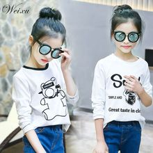 Weixu Children's Spring Autumn White Top Kids Girls Cartoon Cotton Long Sleeve T Shirt Clothes for Girls 8 10 11 12 14 Years Old недорого