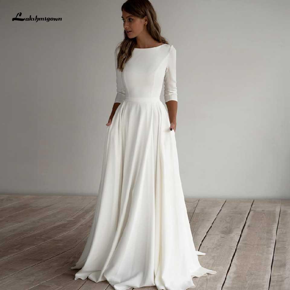 einfache satin hochzeit kleid eine linie 2020 robe femme elegante braut  kleid 3/4 ärmeln strand hochzeit kleider mit taschen