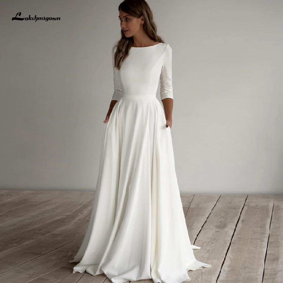 Simple Satin Wedding Dress A Line 2020 Robe Femme Elegant Bridal Dress 3/4 Sleeves Beach Wedding Dresses With Pockets