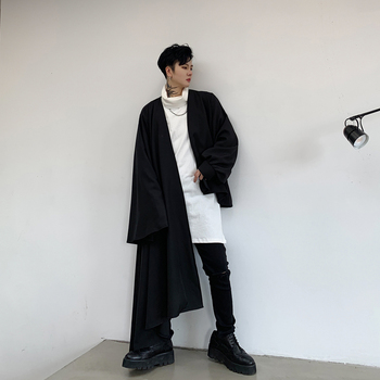 Men Asymmetric Long Sleeve Cardigan Shirt Coat Male Japan Streetwear Gothic Loose Casual Cloak Shirt Outerwear Stage Clothing