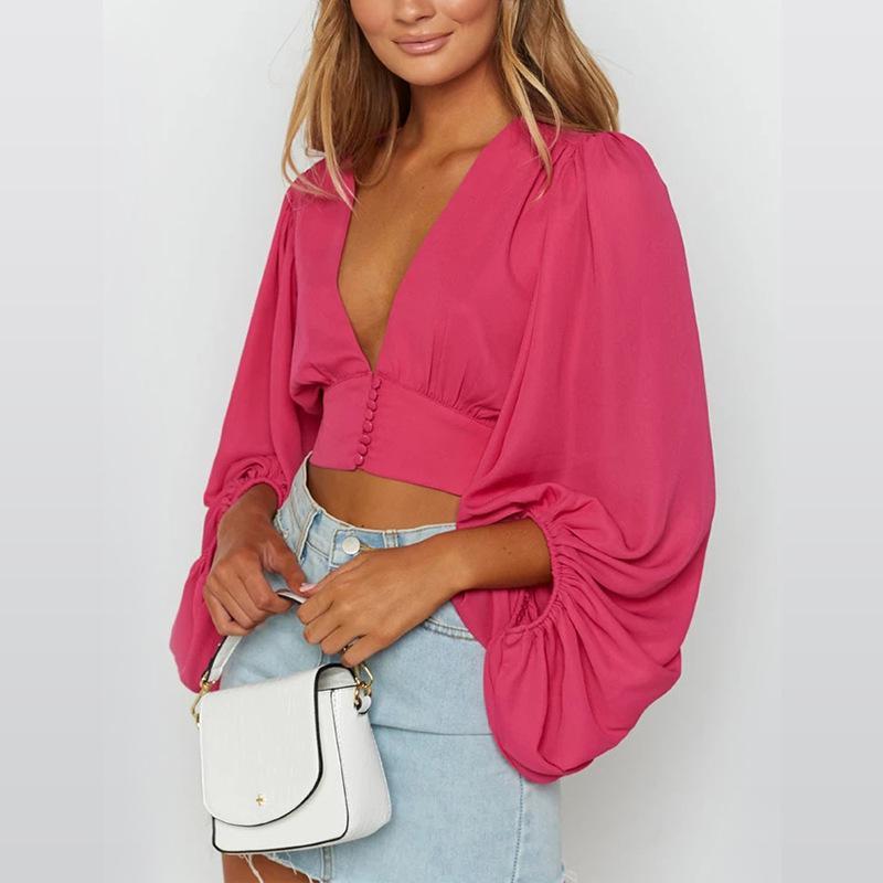 Long Sleeve Crop Top V-neck Elegant Shirt Women 2020 Spring New Solid Color T-shirt T-shirts Sexy Woman Fashion Shirts