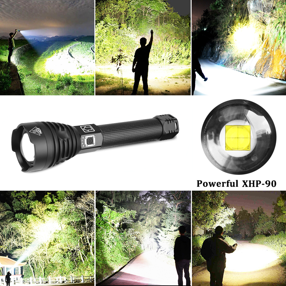 Image 5 - The brightest XHP90 LED Flashlight Tactical waterproof Torch 3 Lighting modes Zoomable Hunting camping lamps By 18650 or 26650LED Flashlights   -