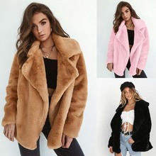 Winter Soft Plush Slim Women Jackets Turn Down Collar Warm Loose Casual Streetwear Clothing Female P