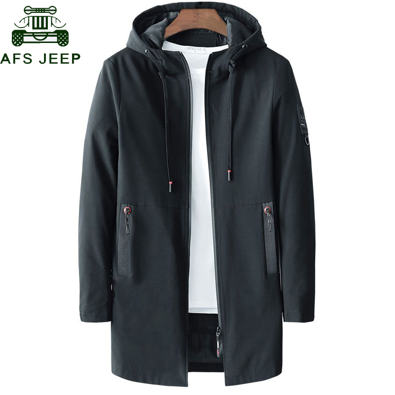 2020 Spring Autumn Business Casual Trench Coat Jacket Men Stand Collar Big Size M-5XL Solid Color Slim Fit Thin Long Trench Male