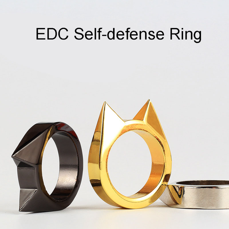 EDC Cat Ear Self Defence Finger Ring Pendant Keychain Multifunctional Outdoor Survival Tool Tactical Self Defense Supplies