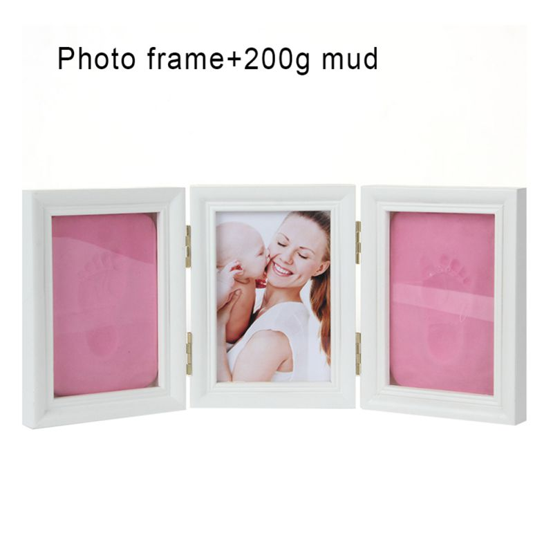 Baby Hand&Foot Print Hands Feet Mold Maker Baby Photoes Frame With Cover Fingerprint Mud Set Baby Growth Memorial Gift