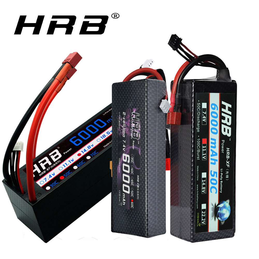 HRB 2S 3S RC Lipo Battery 7.4V 11.1V 14.8V 6000mah 60C Max 1200C Hard Case Battery For Traxxas 1/10 1/12 RC Cars Truck Monsters