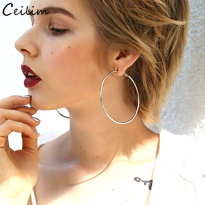Fashion Silver Color Stainless Steel Hoop Earrings For Women Large Circle Round Loop Creole Earring Jewelry Boucle D'oreille