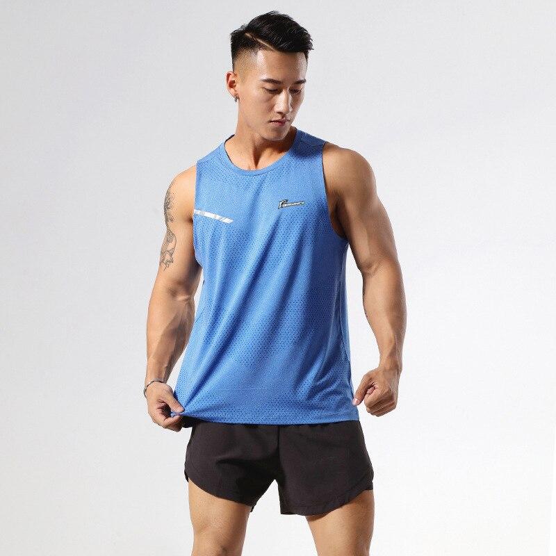 running - QUESHARK Men Running Vest Quick Dry Sleeveless Marathon Jogging Shirt  Outdoor Fitness Loose Tops Training Underwaist Tees