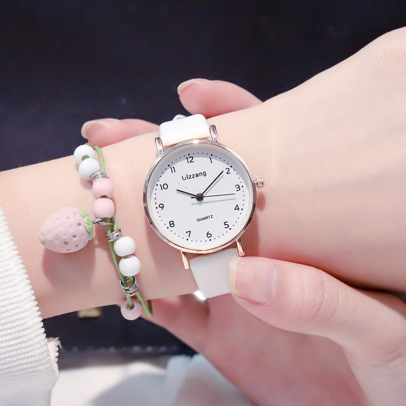 Women Fashion White Watch Quartz Leather Ladies Wristwatches 2019 Ulzzang Brand Simple Number Dial Woman Clock Montre Femme