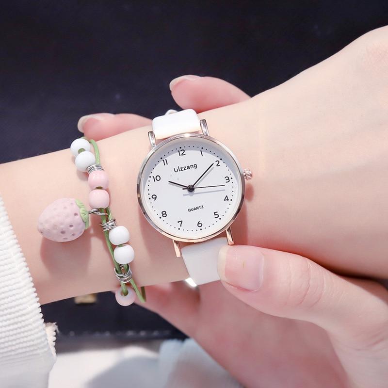Women Fashion White Watch Quartz Leather Ladies Wristwatches 2019 Ulzzang Brand Simple Number Dial Woman Clock Montre Femme