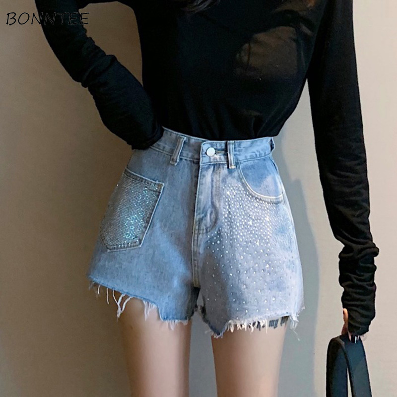 Shorts Women Irregular Pocket Tassel Elegant Ladies Slim High Womens Diamond Trendy Korean Ulzzang Flare Chic Denim Short Zipper