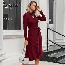 Simplee kobiety elegancka sukienka z dzianiny Streetwear guziki pas bodycon długie jesienne sukienka urząd lady z golfem sweter maxi sukienka