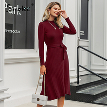 Simplee mulheres elegante vestido de malha streetwear botões cinto bodycon longo vestido de outono senhora do escritório gola alta maxi vestido de camisola