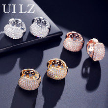 Uilz Cute Hiphop CZ Zirconia White Gold Hoop Earrings For Women Girl Fashion Round Shape Crystal Wedding Party Jewelry UE599
