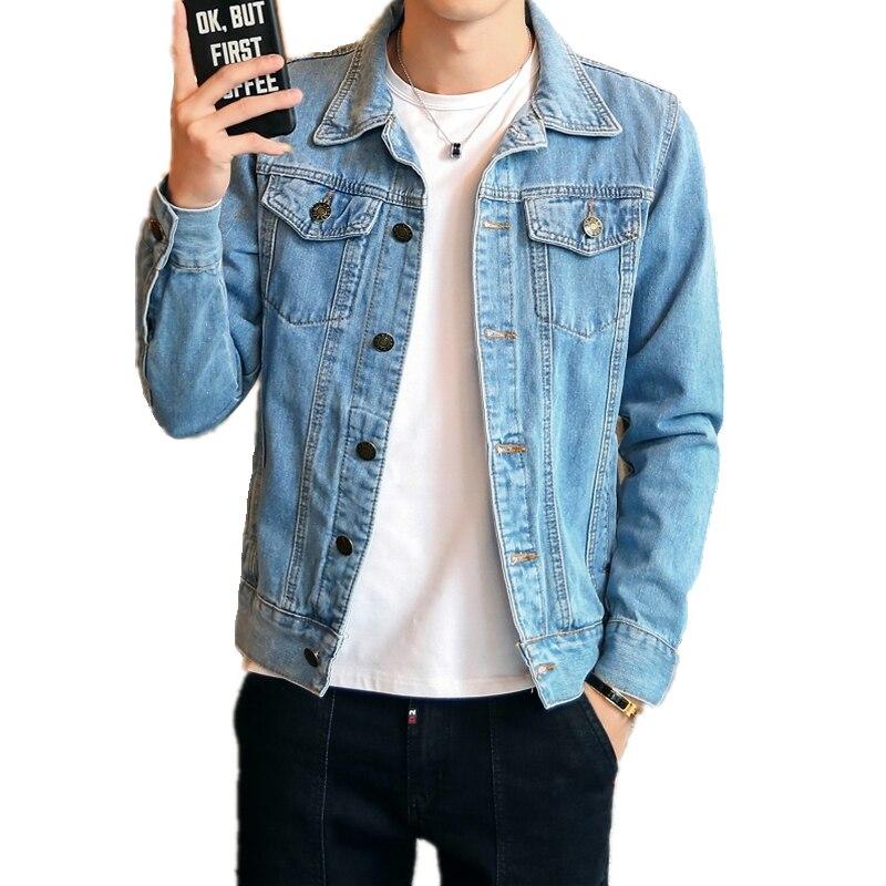Hot 2019 Fashion Mens Denim Jackets Slim Fit Mens Jeans Jacket Cotton Outwear Coat Long Sleeve Hole Male Clothing Size M-4XL