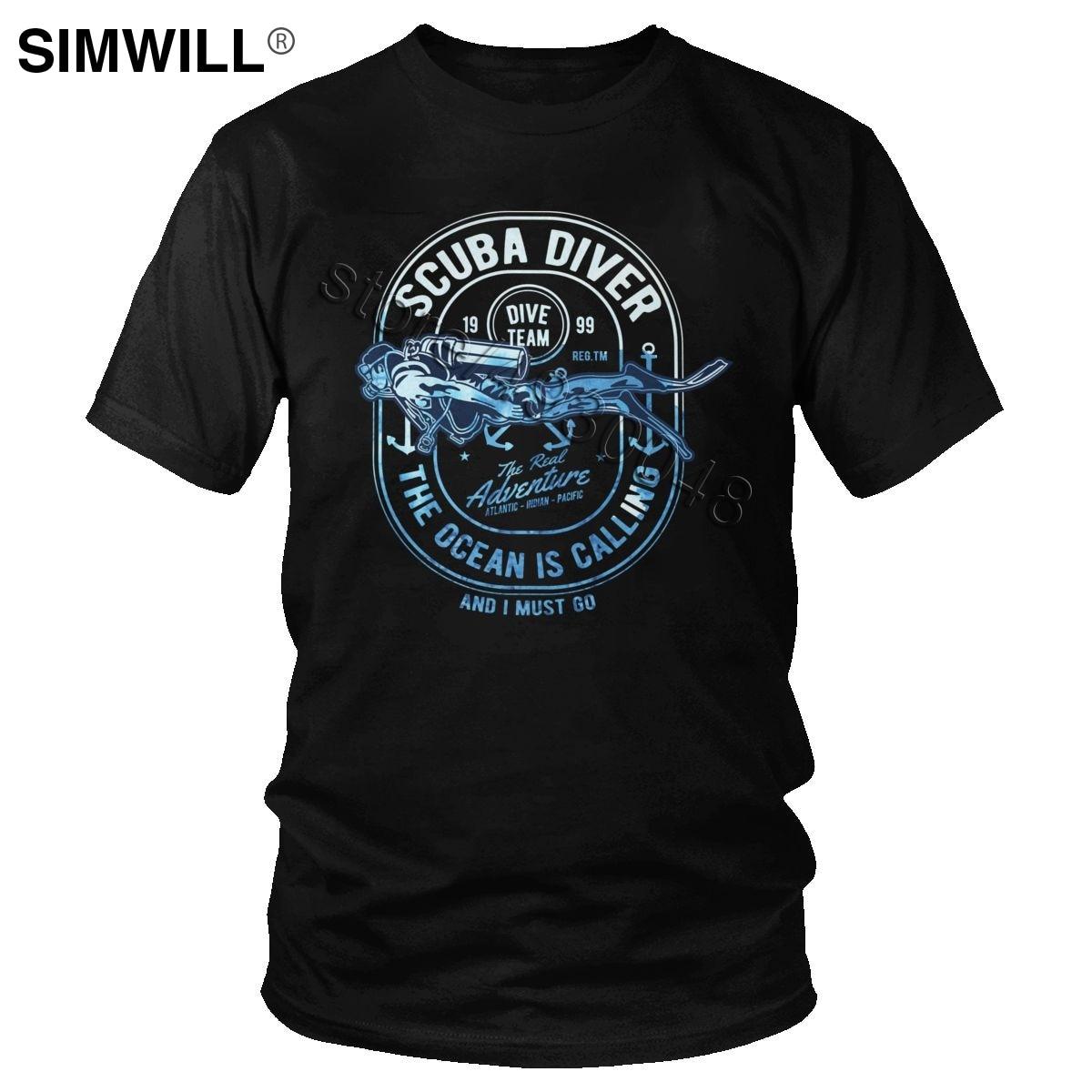 Brand Fashion Cotton T Shirt Men Scuba Diver T-Shirt Short Sleeves Streetwear Summer Leisure Tee Tops Diving Lover Gift Clothing
