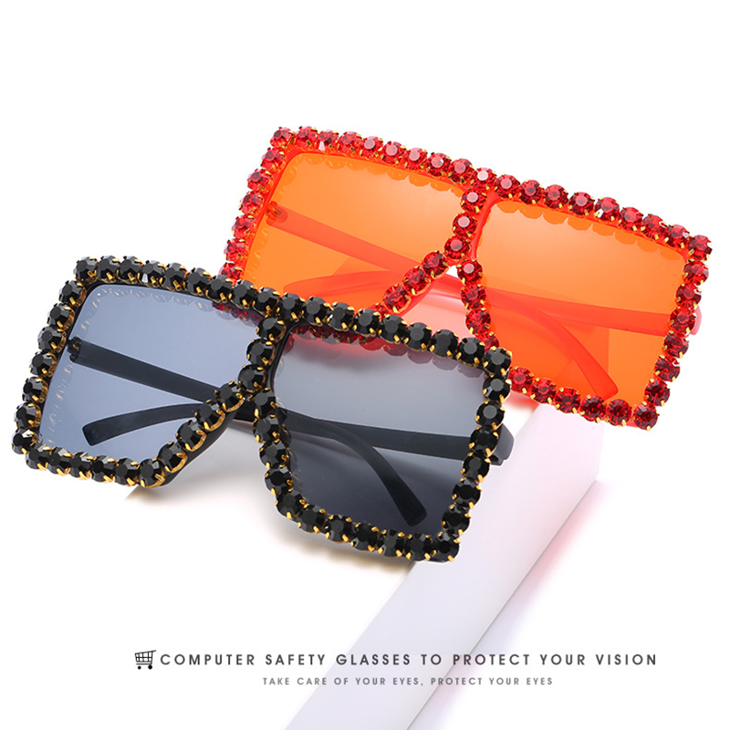 Oversized Rhinestones Sunglasses Women 2020 Luxury Brand Crystal Diamond Square Sun Glasses Woman Shades Ladies Sunglass UV400