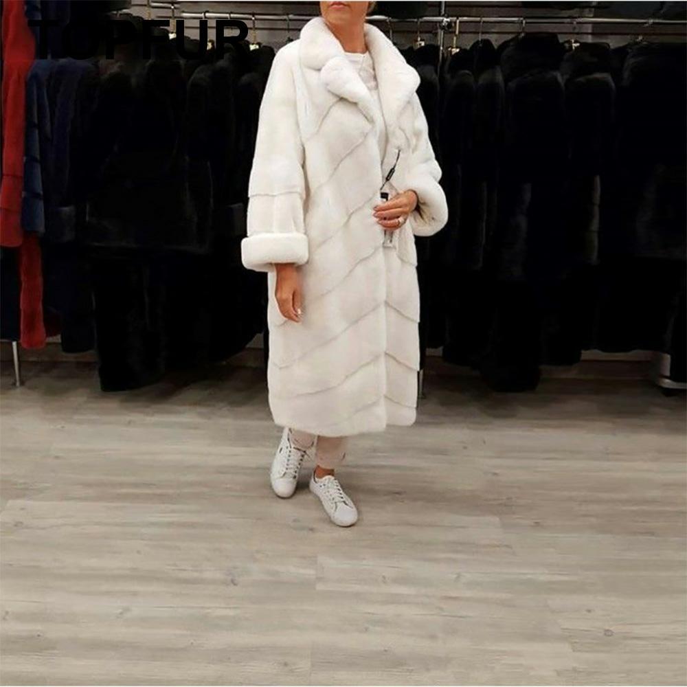 TOPFUR 2019 модное белое пальто длинное натуральное меховое пальто женская зимняя шуба из натуральной норки с меховым воротником свободная одеж...