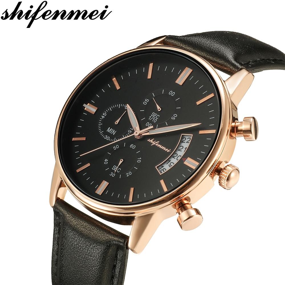 Shifenmei S1082L Retro Design Leather Band Men Watch 2019 Business Leather Wristwatch Gift Mens Relogio Masculino
