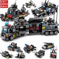 8 Uds./lote 695 Uds., policía de la ciudad, bloques de construcción de camiones SWAT, juego de LegoINGs para vehículos de barco, juguetes para niños