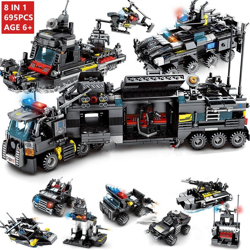 8 teile/los 695Pcs Stadt Polizei SWAT Lkw Bausteine Sets Schiff Fahrzeug LegoINGs Technik DIY Ziegel Playmobil Spielzeug für kinder