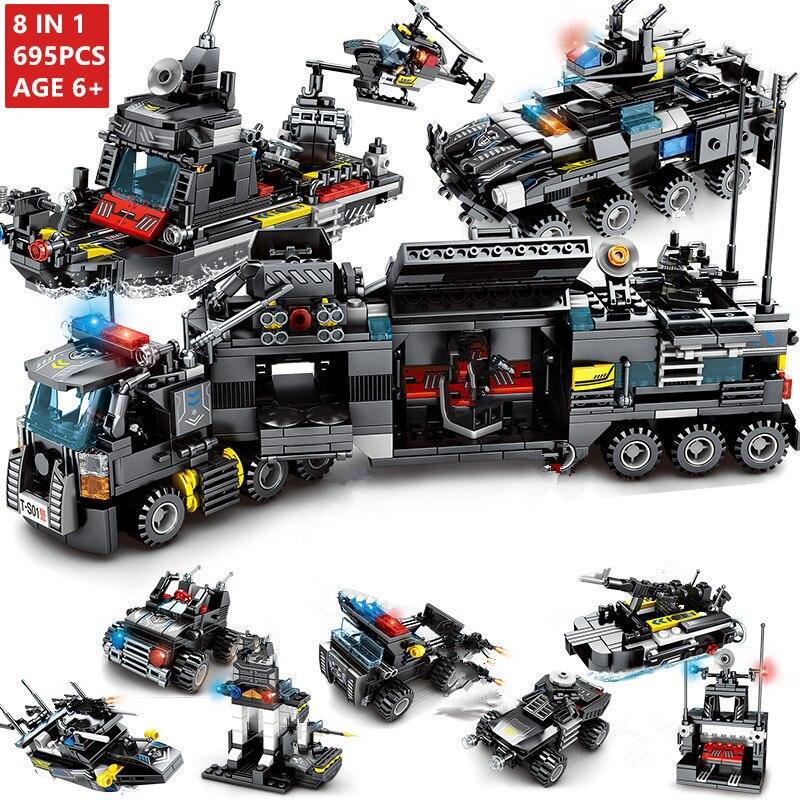 8Pcs/lot 695Pcs City Police SWAT Truck Building Blocks Sets Ship Vehicle LegoINGs Technic DIY Bricks Playmobil Toys for Children