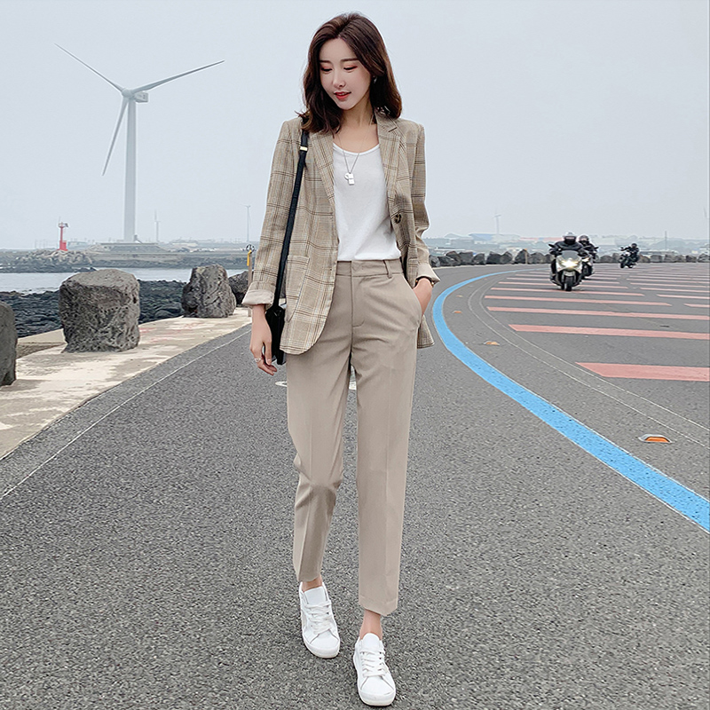 2019 Autumn New Women's Trousers Thin Section High Waist Pencil   Pants   Fashion Casual Solid Color Female   Wide     Leg     Pants   Plus Size