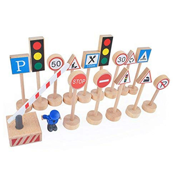 16PCS Colorful Wooden Street Traffic Signs Parking Scene Kids Children Educational Toy Set For Kids Birthday Gift