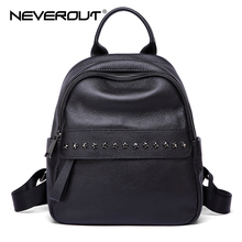 NEVEROUT Zipper Women Backpack Ladies Genuine Leather Backpacks Small Black Shoulder Bag High Quality Girls Travel / School Bag