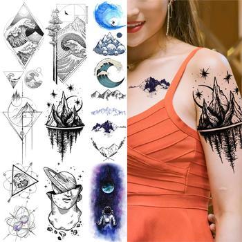 Watercolor Mountain Tree Temporary Tattoos For Women Kids Geometric Body Art Arm Fake Tattoo Sticker Astronaut Waterproof Tatoos фото