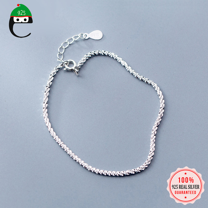 ElfoPlataSi 2019 100% 925 Solid Real Sterling Silver Chain 925 Bracelet For Women Wife Girls Lady Fine Silver Jewelry DS1388(China)
