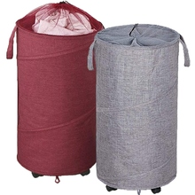 2 Pack Collapsible Laundry Basket with Wheels, Handles and Mesh Tops - 70 Liter Each, Oxford Fabrics, Red and Gray