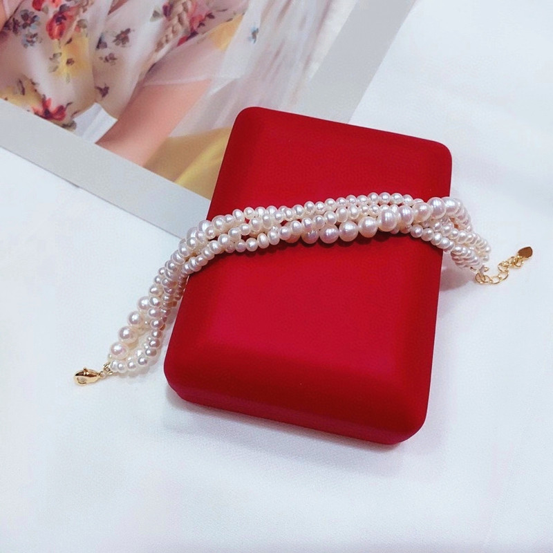 Free shipping hot sell 4 rows bridal bangle high luster natural genuine pearl chain women 7.5inches can customize length wedding