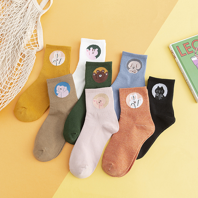 Kawaii Embroidered Expression Women Socks Harajuku Happy Funny Socks Women Christmas Gifts Ankle Cotton Warm Cute Socks